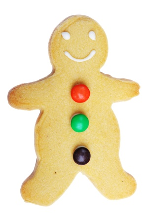 Gingerbread man cookie isolated on white background photo