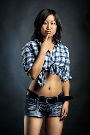 Asian woman in shirt and shorts Stock Photo - 11284125
