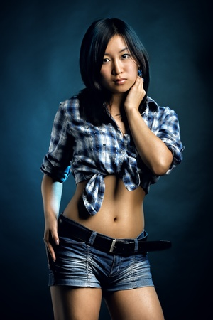 Asian woman in shirt and shorts photo