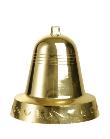 Christmas gold bell isolated on a white background photo