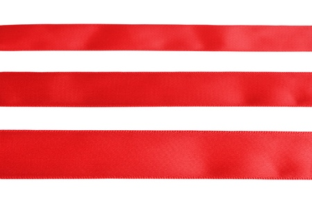 tape line: Three samples of red cloth tape isolated on white