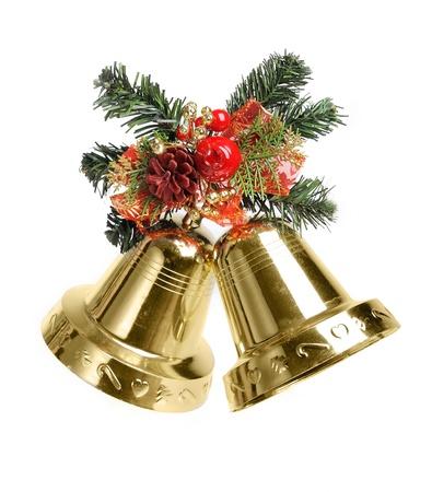 adornos navideños: Decoración de Navidad con campanas aisladas sobre fondo blanco