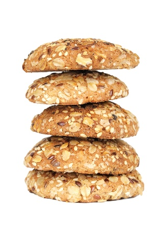 Delicious oatmeal cookies isolated on white background photo