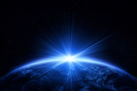 日の出と惑星地球 写真素材