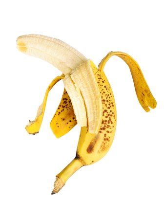 cleared: Banana cleared of a peel isolated on a white