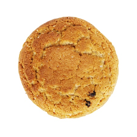 Close up delicious oatmeal cookie isolated on white photo