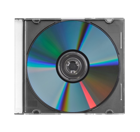 jewel case: CD in clear plastic case isolated Stock Photo