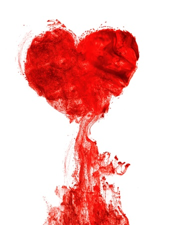 drop of blood: Heart shape ink of blood in water isolated Stock Photo