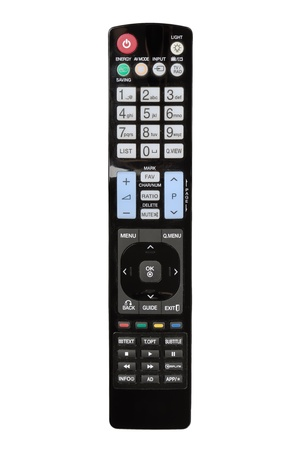 Modern LCD TV remote control isolated on white photo