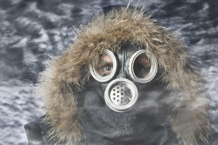 Man in respirator oudoor nuclear photo