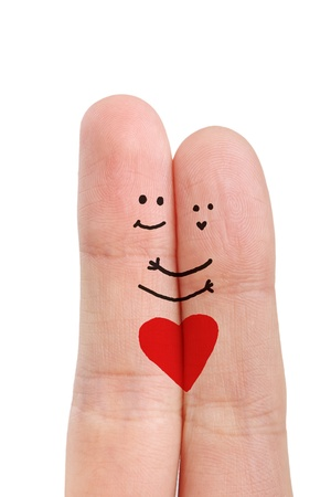 Painted happy fingers smiley in love valentine's day theme Banque d'images