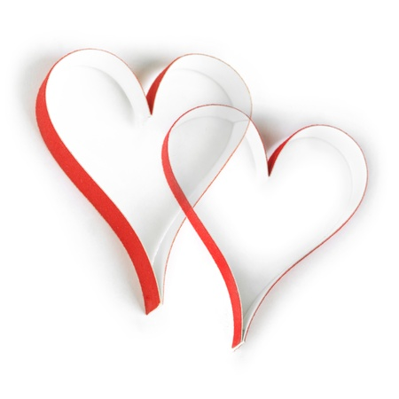 Valentines paper hearts on white background photo