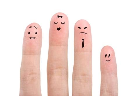on fingers: Grupo de los emoticonos dedo aislado en blanco