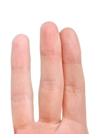 Close up fingers isolated on white photo