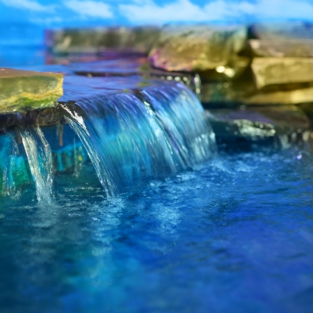 Little decorative waterfall Stock Photo
