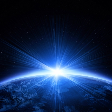 拡大: 日の出の光で惑星地球