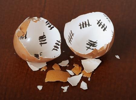 Broken egg shell closeup on dark background photo