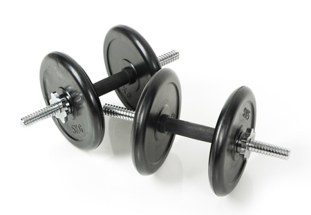 Dumbbells isolated on white background photo