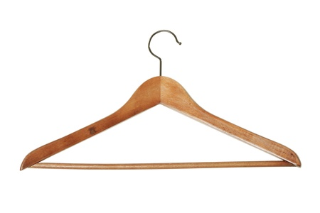 Wooden hanger isolated on white background photo
