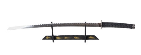 Samurai sword on a stand isolated photo