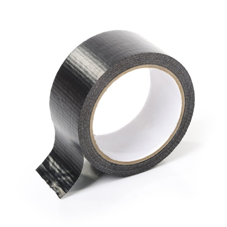 sellotape: Black adhesive tape isolated on white background Stock Photo