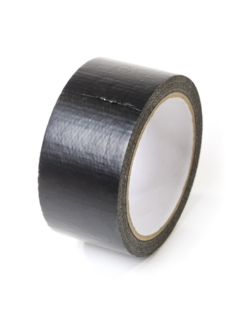 gaffer: Black adhesive tape isolated on white background Stock Photo