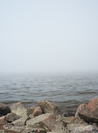 durty: Landscape with fog over lake Stock Photo
