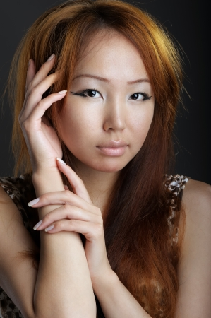 Asian woman on black background photo