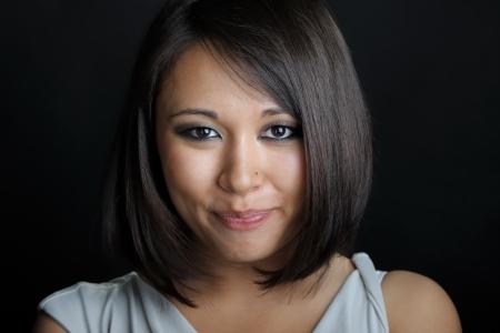 black woman face: Close up of asian woman face