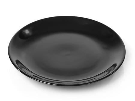 Black plate isolated on white background 版權商用圖片