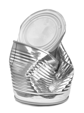 Crushed tin can isolated on white background