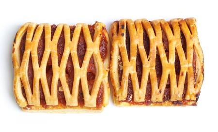 slits: Fruit pie isolated on white background Stock Photo