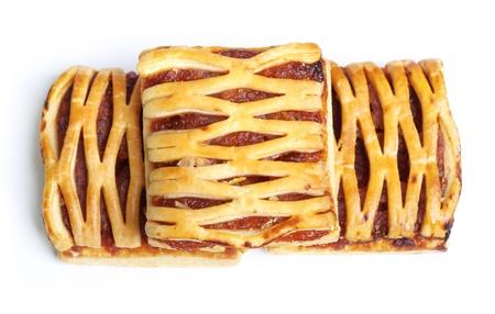 flaky: Fruit pie isolated on white background Stock Photo