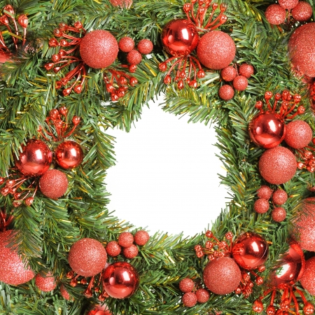 Decorative christmas wreath isolated on white background photo
