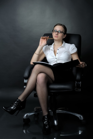 strict: Portrait of sexy business woman
