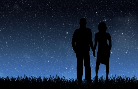 starlit sky: Woman and man under the night sky