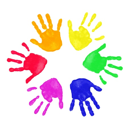 Set of colorful hand prints in rainbow order isolated on white background photo