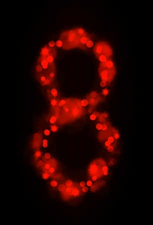 trigram: Numerical symbols with glowing lights Stock Photo