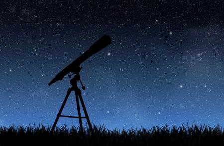 Telescope under the night sky Stock Photo