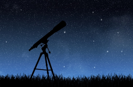 Telescope under the night sky Stock Photo