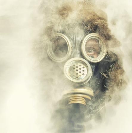 Spooky portrait of man in respirator photo
