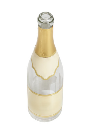 gold capped: Bottle of champagne isolated on white