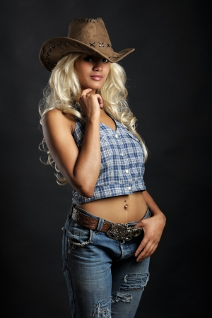 Young lady in a cowboy hat photo