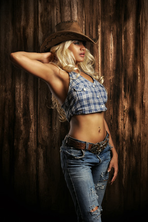 belts: Young lady in a cowboy hat