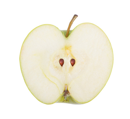 Half of green apple isolated over white background