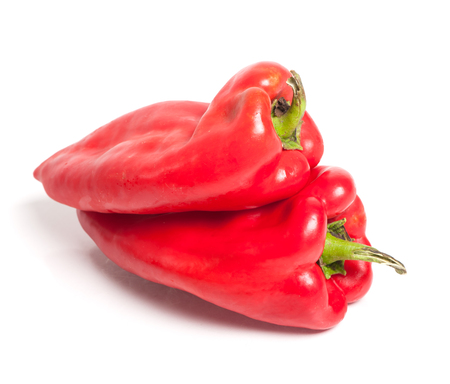red bell pepper: Red bell pepper or capsicum isolated on white background