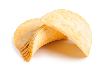 crinkle: Potato chips isolated on white background Stock Photo