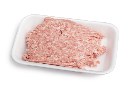 farce: Forcemeat on plate isolated on white background Stock Photo