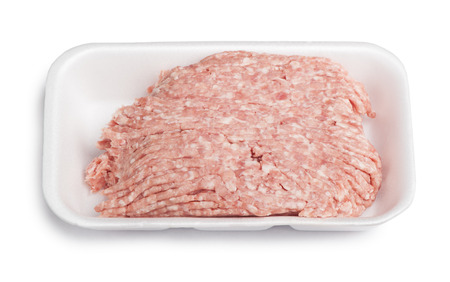 forcemeat: Forcemeat on plate isolated on white background Stock Photo