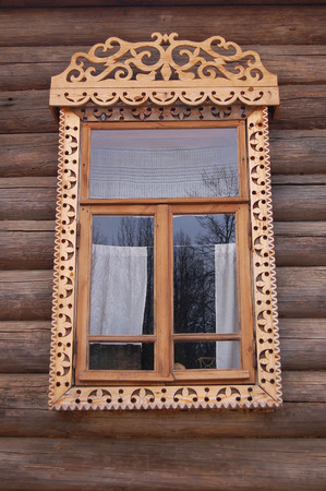 old house window: Wooden old house window